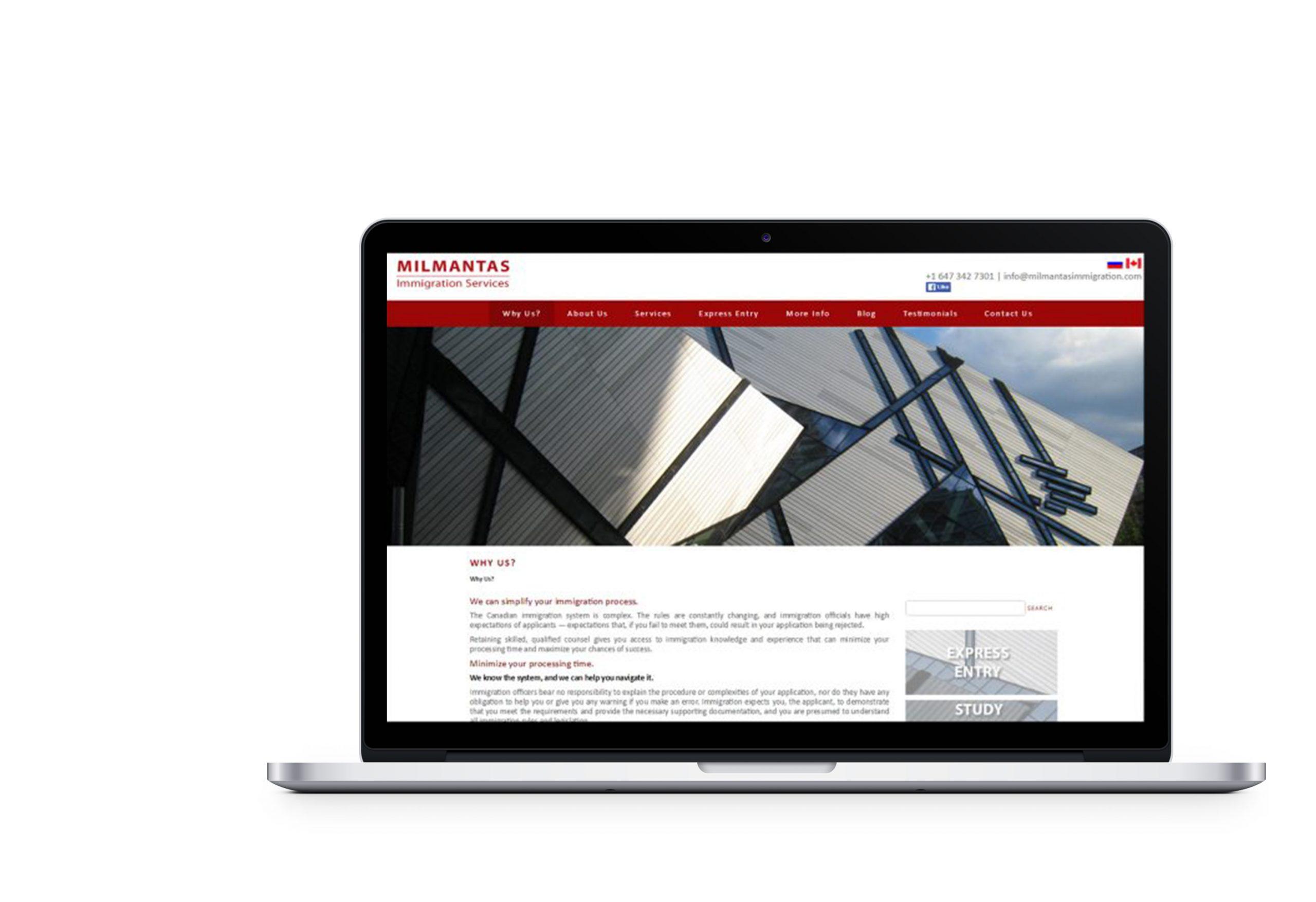 Вебсайт для Milmantas Immigration Service